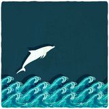 Dolphin marine background Royalty Free Stock Image