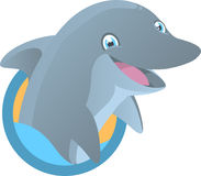 Dolphin mascot. Dolphin Smiling with half body out of the water  illustration Stock Photography