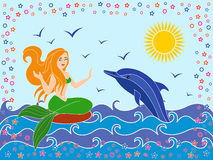 Dolphin and Mermaid in the sea waves Stock Photography