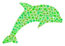 Dolphin Mosaic of Circles. Dolphin composition of dots in different sizes and fresh green shades. Vector circle elements are united into dolphin mosaic Stock Photo