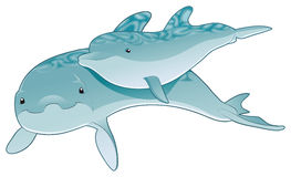 Dolphin - mother and son. Cartoon and vector character Stock Photos