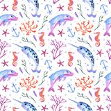 Dolphin and narwhal seamless watercolor pattern. Underwater cute background on white. Sea creatures in ocean with corals