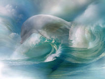 Dolphin In The Ocean. A dolphin unites with roaring waves!  In this picture you will find power and vigor Stock Photos