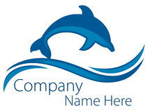 Dolphin Ocean Logo. A dolphin jumps above the ocean waves in this logo icon Stock Images