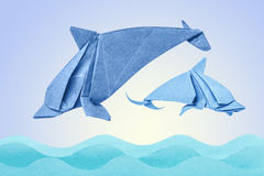 Dolphin origami of paper Stock Images
