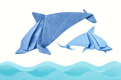 Dolphin origami of paper Stock Image
