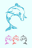 Dolphin ornament. Dolphin tribal,easy to use,good for your tattoo design, vector file Stock Photography