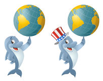 Dolphin in the patriotic hat holding a globe. Cartoon styled vector illustration. Elements is grouped.  No transparent objects. Isolated on white Stock Photo