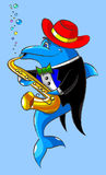 The dolphin plays a saxophone Stock Image