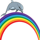 Dolphin and  rainbow Royalty Free Stock Photo