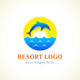 Dolphin sea waves resort logo. Dolphin jumping above waves. Sea, sun, travel vector logo. Branding identity of hotels, tourist business, spa, beach service Stock Photos