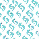 Dolphin seamless 2d pattern on blue background Royalty Free Stock Images