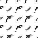 Dolphin seamless with typography sign. Wild animal wallpaper. Stock pattern isolated on white background. Retro. Monochrome design. Vintage hand drawn effect Stock Illustration