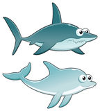 Dolphin and Shark. Stock Image