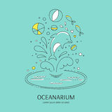 Dolphin show banner. Vector doodle illustration for oceanarium or dolphinarium. Clean elegant dolphin show background. For posters, cards, brochures and flyers Stock Photos