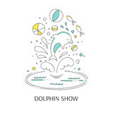 Dolphin show banner. Vector doodle illustration for oceanarium or dolphinarium. Clean elegant dolphin show background. For posters, cards, brochures and flyers Stock Photo