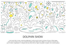 Dolphin show banner. Vector horizontal banner template suitable for oceanarium or dolphinarium. Doodle dolphin show background. For posters, cards, brochures Stock Photo