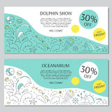Dolphin show banner. Vector horizontal banner templates suitable for oceanarium or dolphinarium. Doodle dolphin show background. For posters, cards, brochures Stock Photography