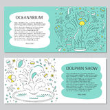 Dolphin show banner. Vector horizontal banner templates suitable for oceanarium or dolphinarium. Doodle dolphin show background. For posters, cards, brochures Stock Photos