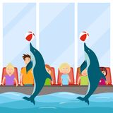 Dolphin show, Dolphinarium. The dolphins show the view. vector illustration