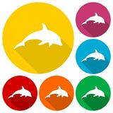 Dolphin Silhouette icons set with long shadow. Vector icon Royalty Free Stock Photos