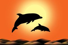 Dolphin silhouette jumps Royalty Free Stock Photography
