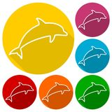 Dolphin Silhouettes icons set with long shadow. Icon Royalty Free Stock Photography