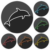 Dolphin Silhouettes icons set with long shadow. Vector icon Stock Photos