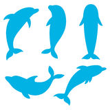 Dolphin silhouettes on the white background. Swimming Dolphins. Royalty Free Stock Image