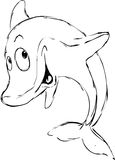 Dolphin sketch - black outline. Illustration Royalty Free Stock Images
