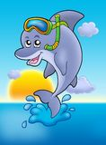 Dolphin snorkel diver with sunset. Color illustration Royalty Free Stock Image