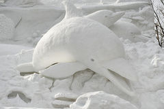 Dolphin Snow Sculpture Stock Photo