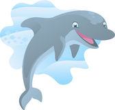 Dolphin splash. Smiling Dolphin happily jumping out of the water  illustration Stock Image