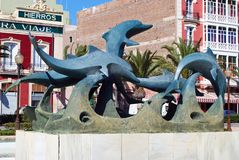 Dolphin statue, Almeria. Stock Photos