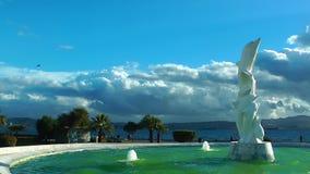 Dolphin Statue near the Seaside stock video