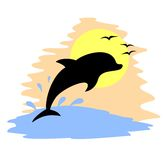 Dolphin sun draw Royalty Free Stock Images