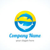 Dolphin sun logo vector illustration