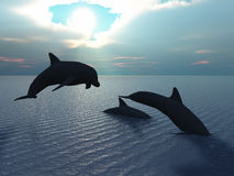 Dolphin and sun ray. Three dolphins floating at ocean (control light royalty free illustration