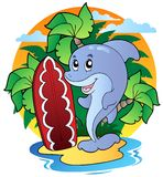 Dolphin with surfing board. Illustration Stock Photo