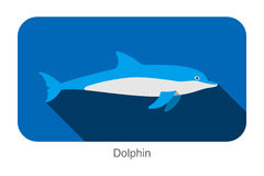 Dolphin swimming in the sea flat icon design Stock Photos