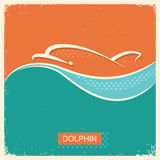 Dolphin symbol poster with blue sea wave background. Royalty Free Stock Image