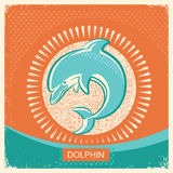 Dolphin symbol retro poster with blue sea wave on old paper back royalty free illustration