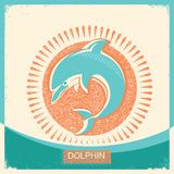 Dolphin symbol retro poster with blue sea wave on old paper text Stock Photos