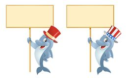 Dolphin in the top hat holding blank banner Stock Photography
