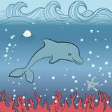 Dolphin under water. Dolphin swimming underwater surrounded by bubbles. Hand draw waves Vector Illustration