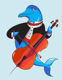 Dolphin and violoncello. Elegantly dressed dolphin plays a violoncello Royalty Free Stock Photo