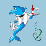 The dolphin is the waiter. The amusing dolphin is the waiter keeps in one fin a napkin, and in other fin a tray with a bottle of wine and a wine glass Royalty Free Stock Photos