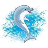 Dolphin and water splash. Dolphin and water splash on a white background Stock Photo