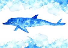 Dolphin and water.Watercolor hand drawn illustration. Underwater animal art. white background Stock Image