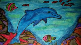 Dolphin Watercolor Sketch. This is a blue dolphin in the ocean drawing Stock Photo